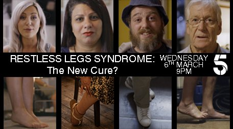 Can't stop the twitch in your legs? Unable to sleep because of your restless legs? Follow the sufferers of #RLS on their journey to discover a new cure in the #premiere of Restless Legs Syndrome: The New Cure? Wednesday 9PM on @channel5_tv   #restlesslegs https://t.co/PaNoXO0C2G