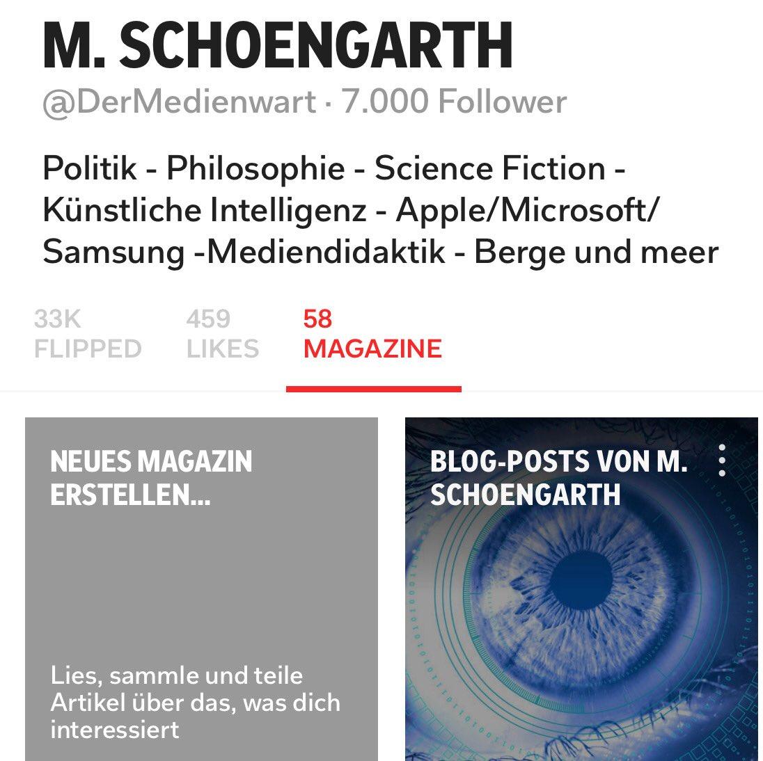 Die im Internet gefunden Materialen systematisch in eigenen #Magazinen zu sammeln, ist ein #Feature von #Flipboard. Dass die öffentlichen Magazinen nun 7K Follower haben, ist  #FollowerPower . Vielen Dank! https://t.co/SKd682ck47