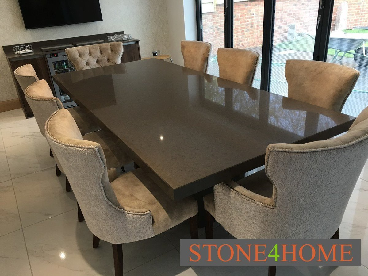 test Twitter Media - Lovely Silestone Grey Amazon Quartz dining table with matching sideboard and integrated wine chiller. Surrounded by our own Carra dining chairs. Chairs made taller to clients requirements. A perfect set! https://t.co/Jg5PCx9ppH