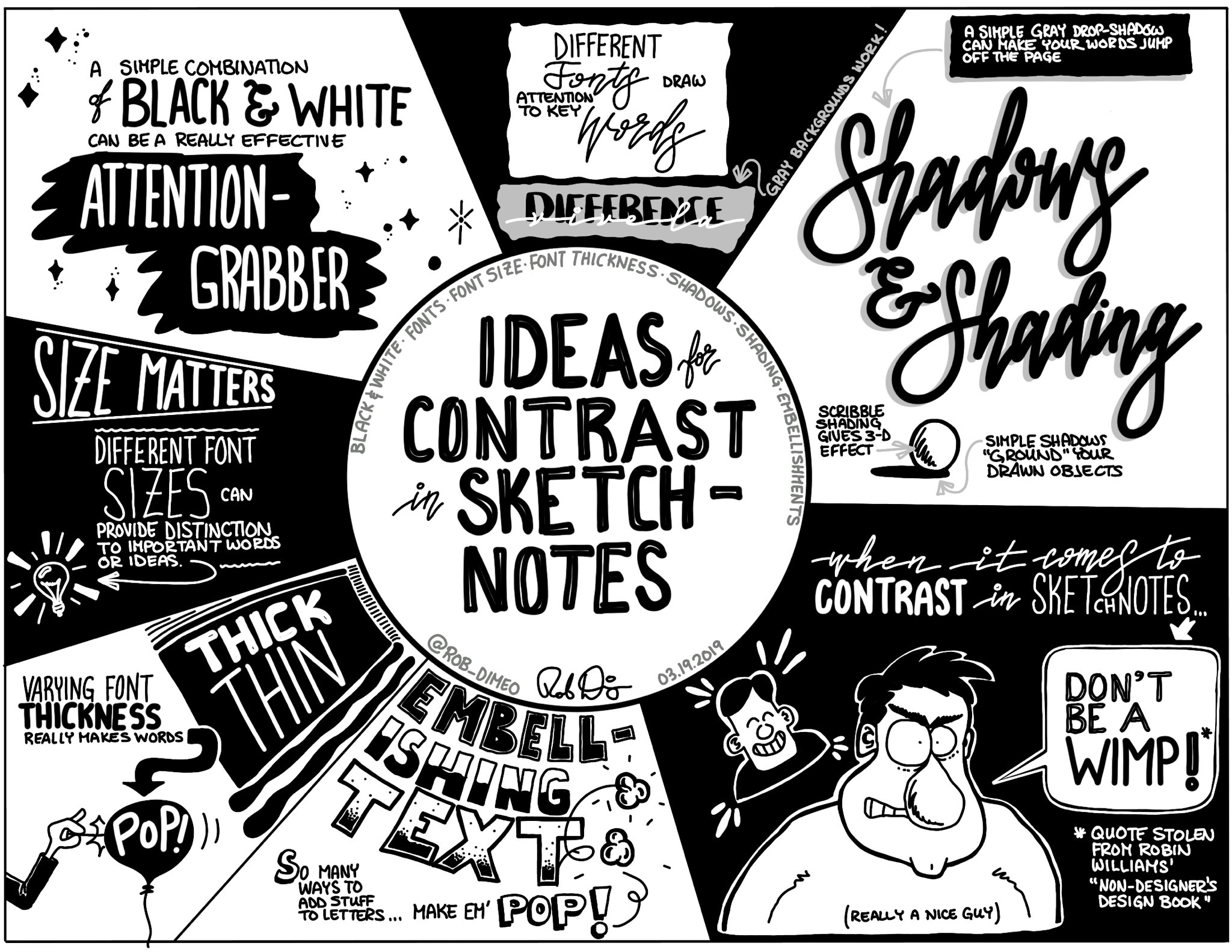 #Sketchnote summary of my recent reflections on the various ways to use contrast in sketchnotes to draw attention to ideas, key words and concepts. https://t.co/mQPXvjMNA5