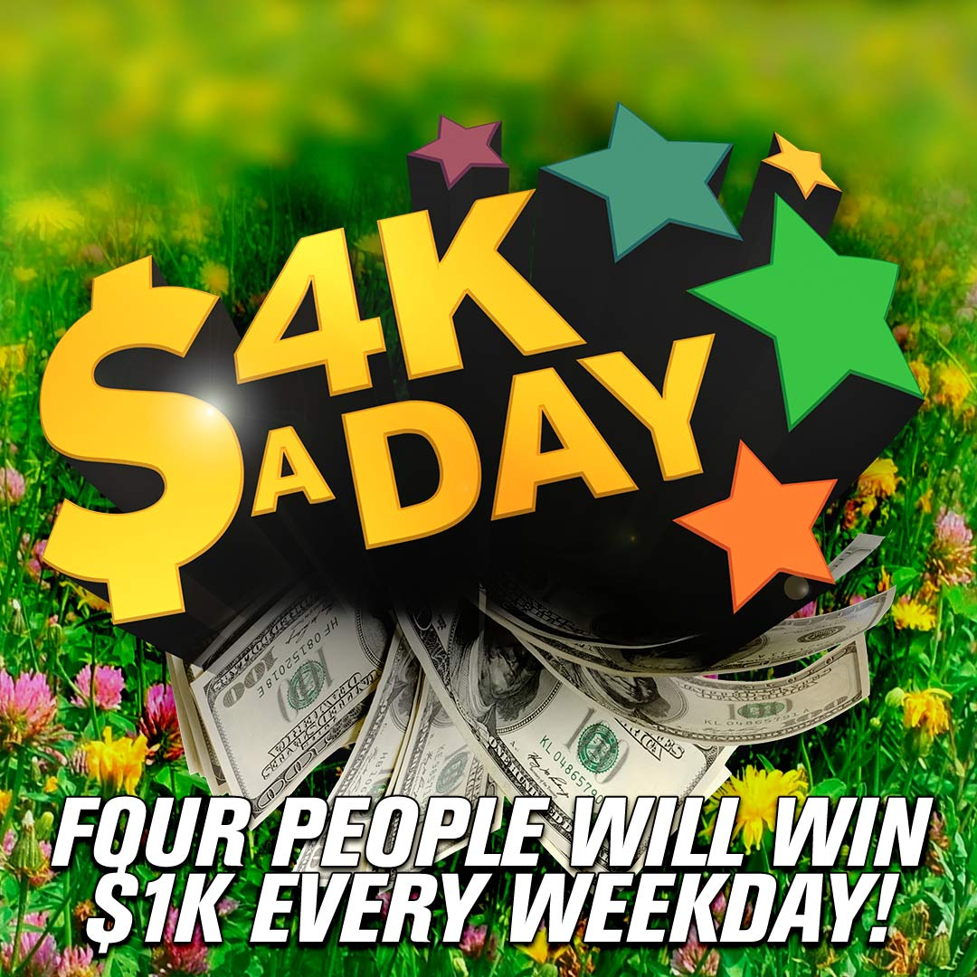 Your FIRST chance to win $1,000 with #4KaDay is in about 10 minutes! Listen for the national keyword to text! https://t.co/RuXbJ1AwMj
