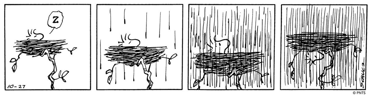 test Twitter Media - One of Charles Schulz's more masterful technical achievements is his rendering of rain. 🌧️ He took great pride in his ability to draw the extremely fine lines over the top of his drawings. Some of these individual rain-filled panels required over 100 pen strokes! https://t.co/7yzCMN9wZ2