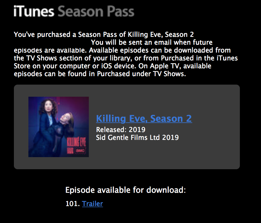 Season 2 @KillingEve @IamSandraOh @jodiecomer, #SeasonPass https://t.co/hP8MxpMv05