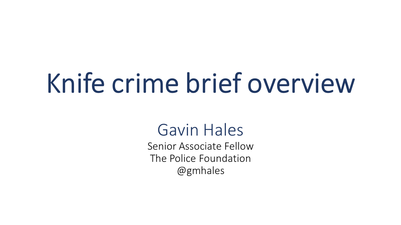 I gave a brief (via Skype) presentation on #knifecrime yesterday to a meeting at @UAL - thought I'd post the slides here in case anyone is interested.   A brief overview of evidence on use/carrying, trends, and then a series of 7 hypotheses about why the increase.  A thread.  1/ https://t.co/iQpSflFlDH