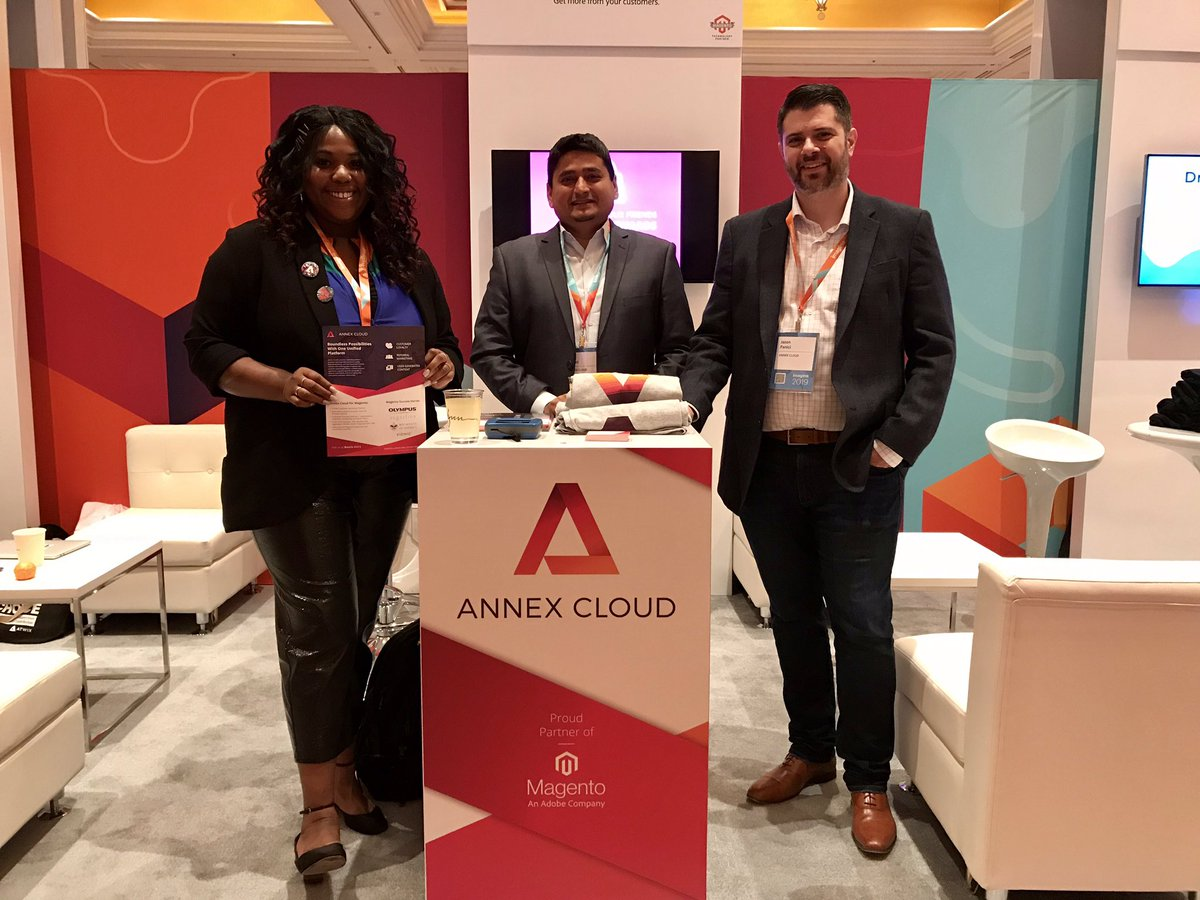 AnnexCloud: We're up and running at #MagentoImagine! nnCome say hello to these friendly faces at Booth #411 https://t.co/VNcPrz60Zn