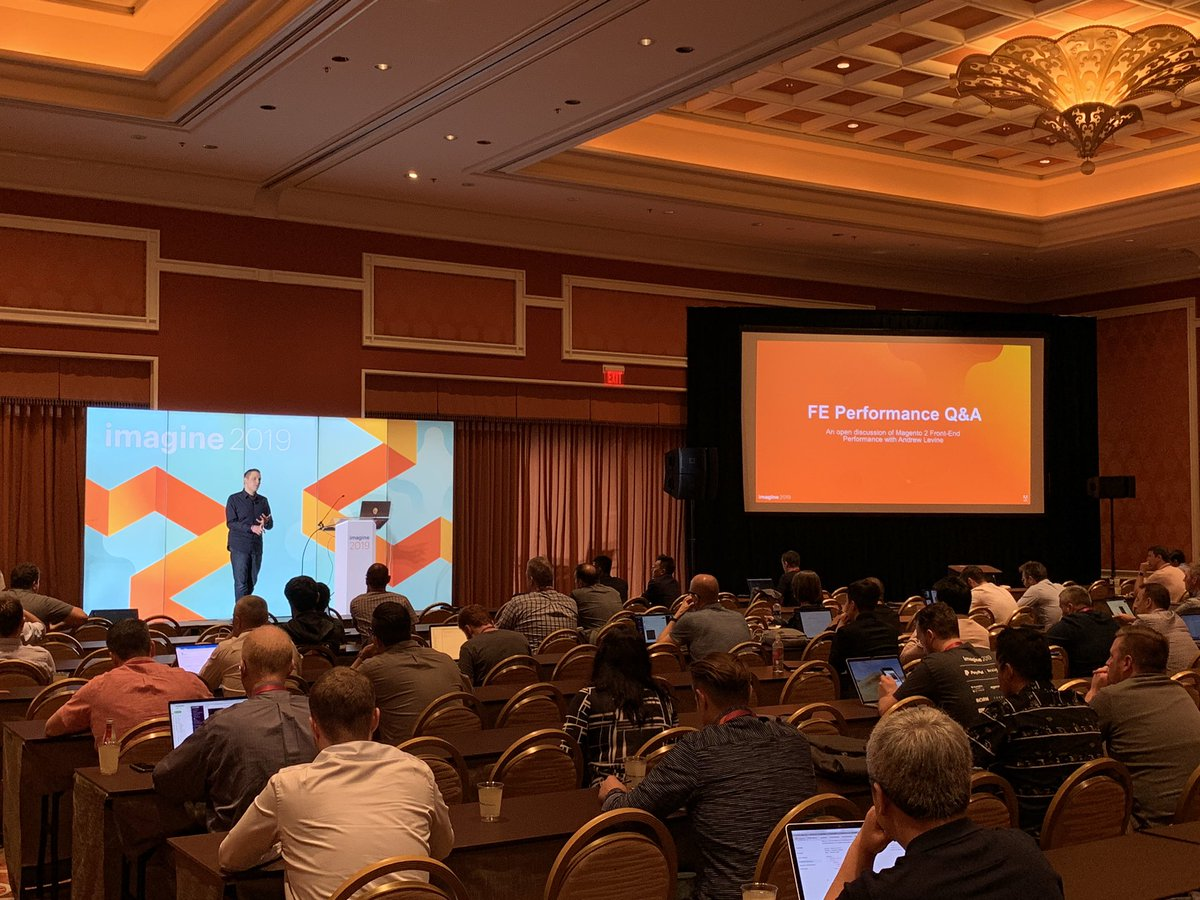 HelloMacaulay: .@drewml discussing front end performance in an open QA session right now in Mounton! #MagentoImagine https://t.co/Fz3bDtGqiP
