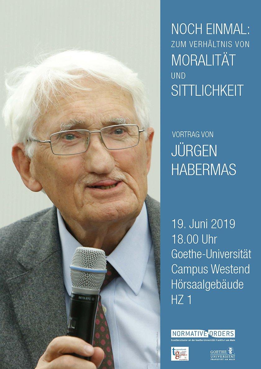 """#savethedate: Am 19. Juni, 18 Uhr ist Jürgen #Habermas bei uns @goetheuni zu Gast und hält anlässlich seines 90. Geburtstag einen öffentlichen Vortrag zum Thema """"Noch einmal: Moralität und Sittlichkeit""""! Weitere Informationen folgen in Kürze. https://t.co/bSvm8ll6mS"""
