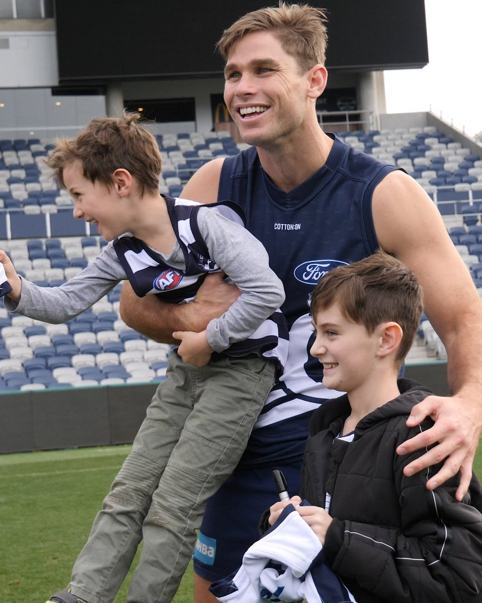 Nine-year-old Tim, a recently diagnosed cancer patient, took a break from his extensive daily treatment today.  He experienced everything the Cattery has to offer 😍  #OurClubOurCommunity #WeAreGeelong