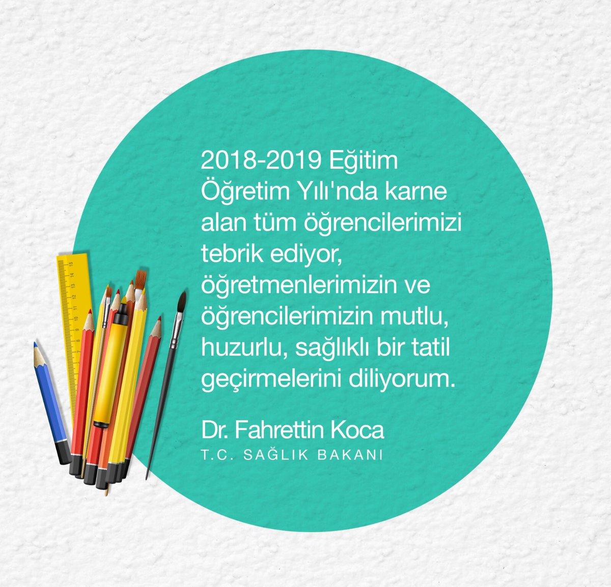 Öğretmenlerimizin ve öğrencilerimizin mutlu, huzurlu, sağlıklı bir tatil geçirmelerini diliyorum. #KarneGünü https://t.co/j4Tu0z28fv
