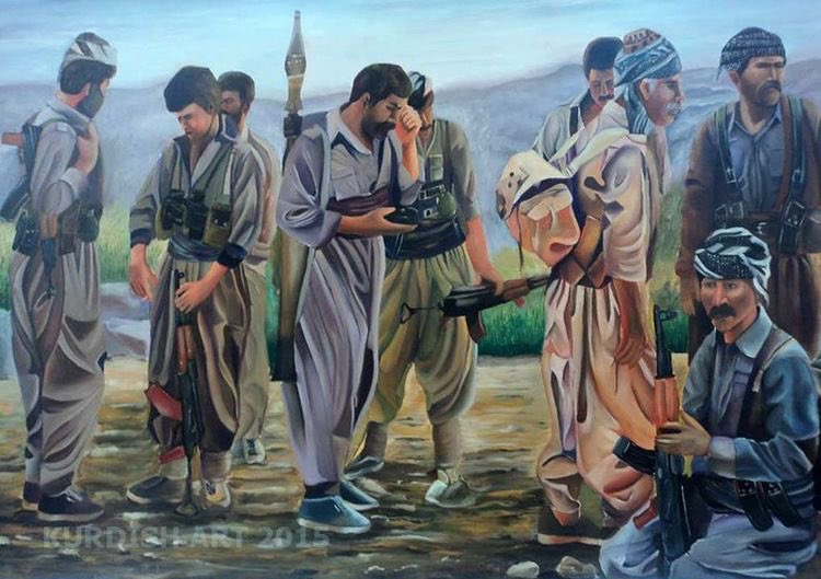 Kurdish art- Kurdish fighters in the mountains
