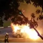 Driver injured after car in Woodlands catches fire