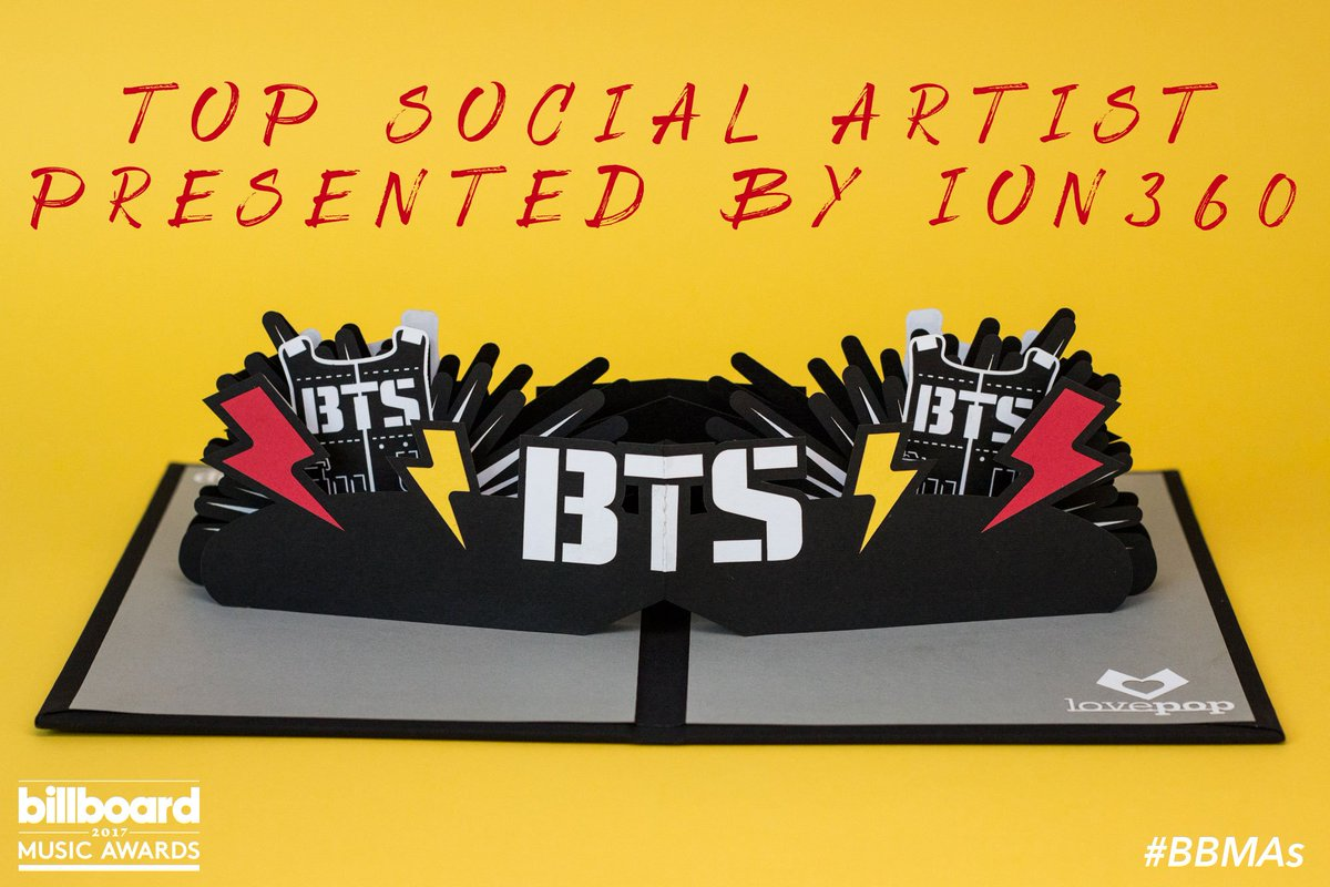 You posted. You tweeted. You voted.Your #BBMAs Top Social Artist presented by @ION360 is @BTS_twt!