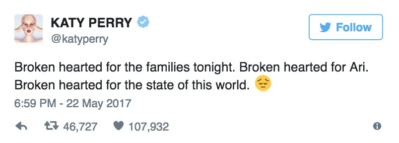 """.@KatyPerry reacts to Manchester attack: """"Broken hearted for the state of this world"""""""