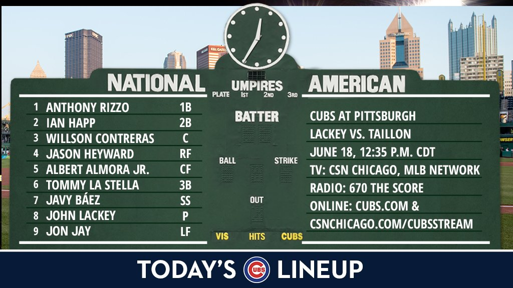 Here is today's #Cubs lineup for the series finale in Pittsburgh.  Game preview: https://t.co/HpDB3Ty0m7 https://t.co/rCKcjL6DTK