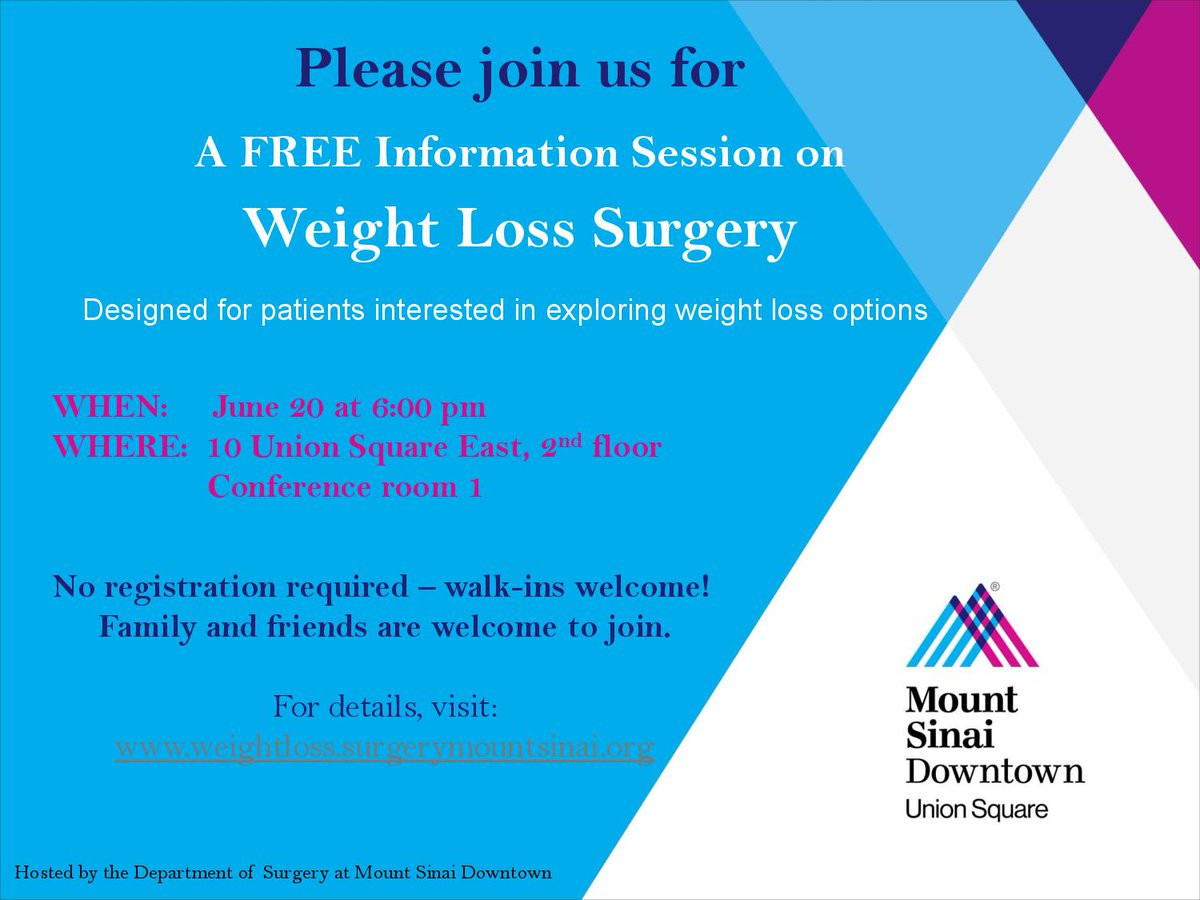 Mount Sinai Nyc On Twitter Join Our Free Weight Loss Surgery Seminar Tuesday June 20 6pm Learn Your Options For More Info
