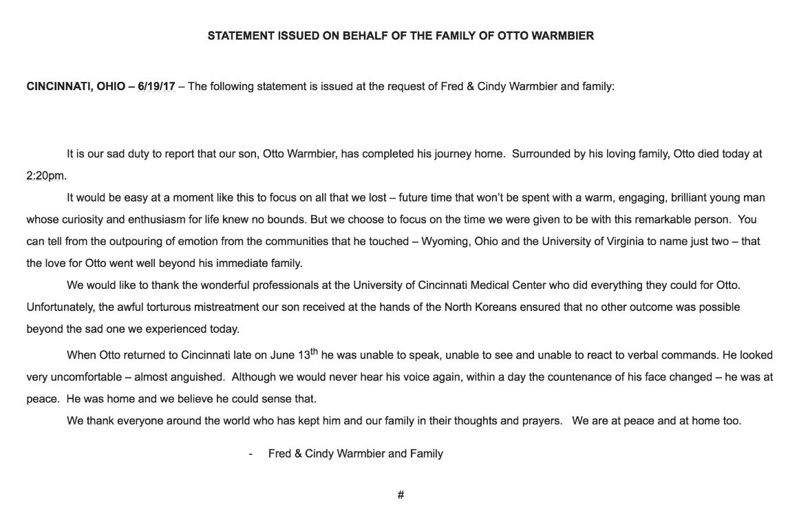 Statement issued by the family of #ottowarmbier on his passing