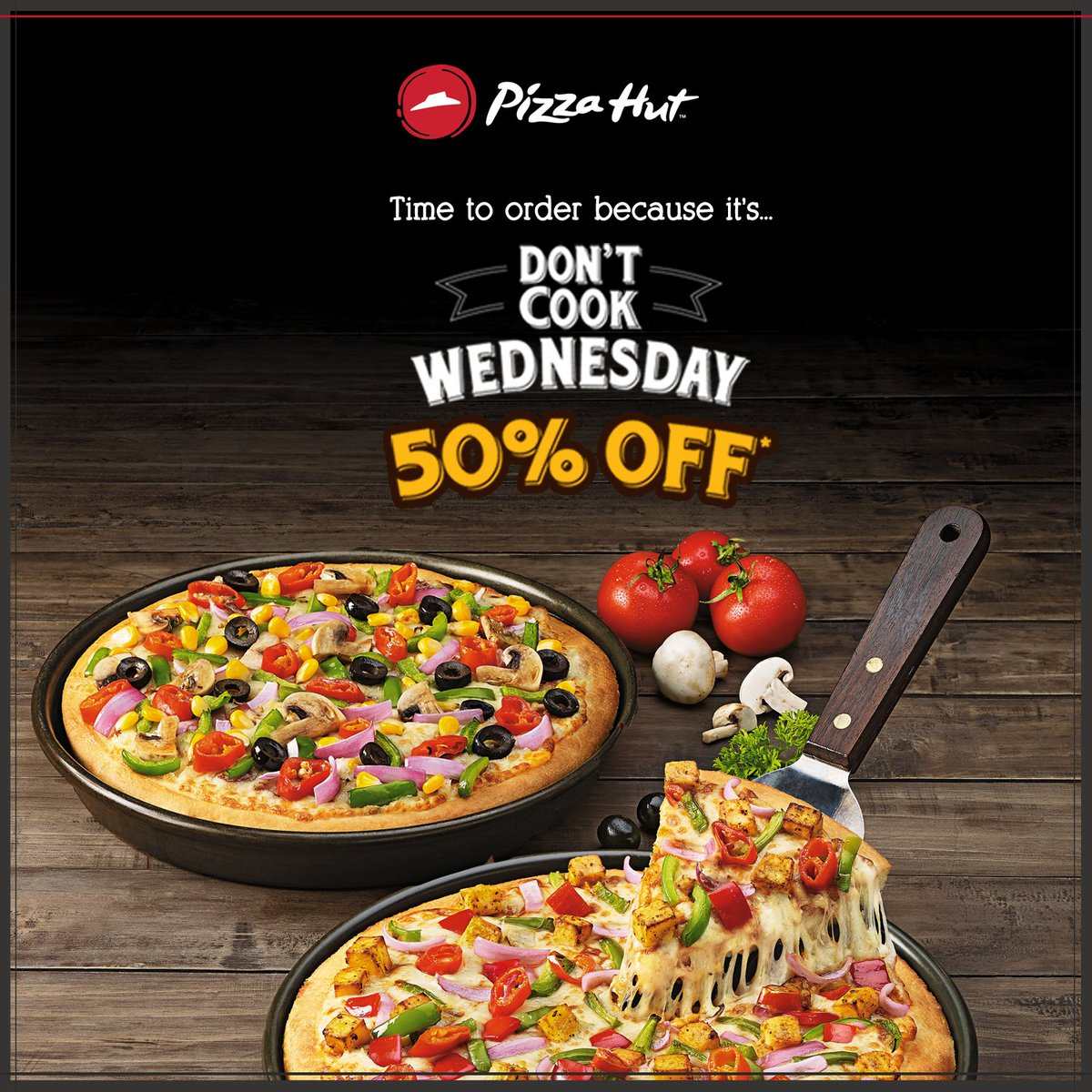 Enjoy the tastiest pan pizzas at flat 50 Off with our DontCookWednesday. Order now https t.co fW8HHBJC7z https t