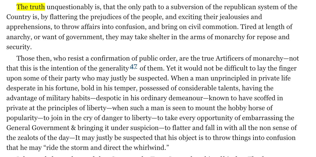 The word, from Alexander Hamilton, 1792. It never gets old. https://t.co/LaJpJeoMD8