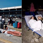 Brit holidaymakers forced to queue outside Kos airport over concerns an aftershock could hit after deadly earthquake killed two people and 360 injured
