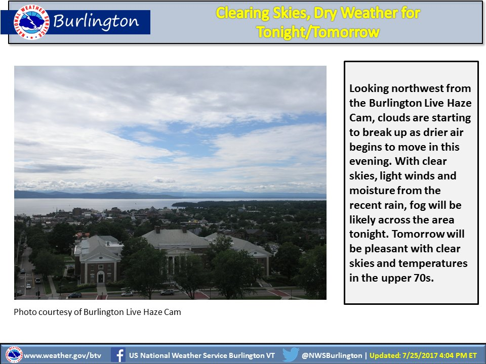 test Twitter Media - Dry air will continue to move in with clearing skies overnight. Tomorrow sunny with temps in the upper 70s. #vtwx #nywx https://t.co/wVTsj9MHjN