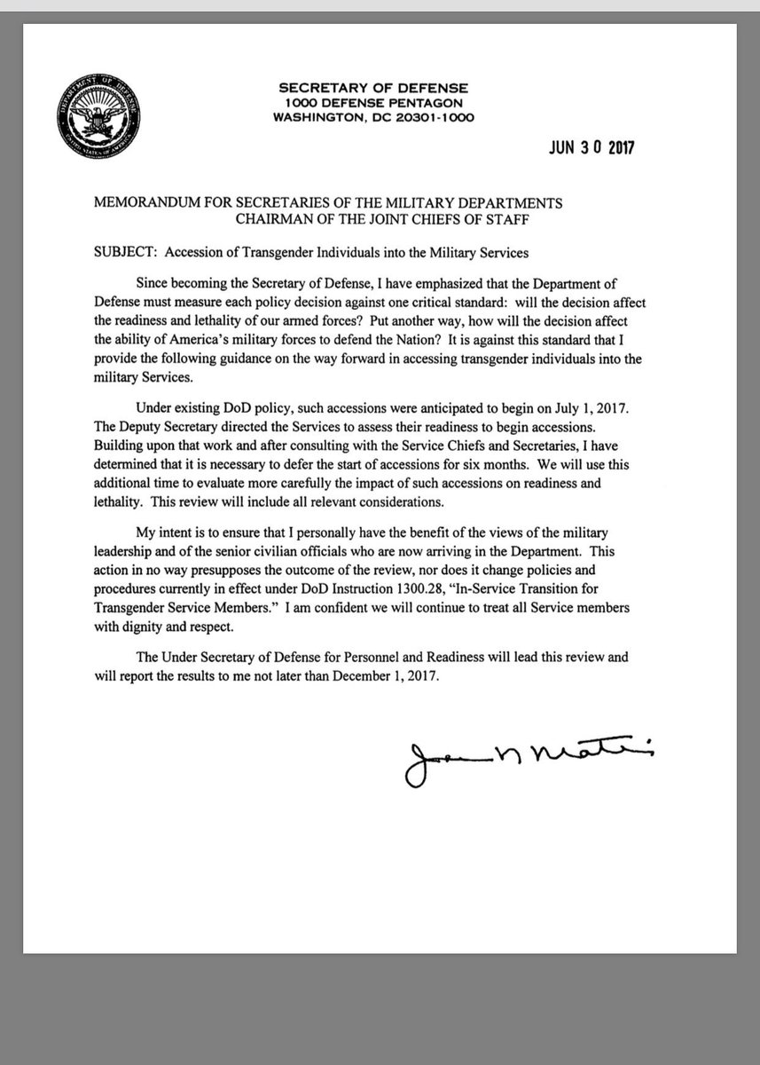 7/ Here's the Mattis memo I referred to a few tweets back --