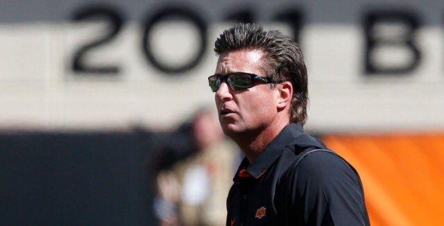 "Happy 50th Birthday to Mike Gundy! Ten years ago he was a ""man\"" at 40. Now he rocks a God-like mullet at age 50."