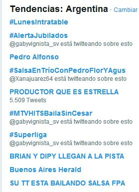 RT @GuilloVertu: Estan los dos TT #SalsaEnTríoConPedroFlorYAgus https://t.co/hsPeMizkP3