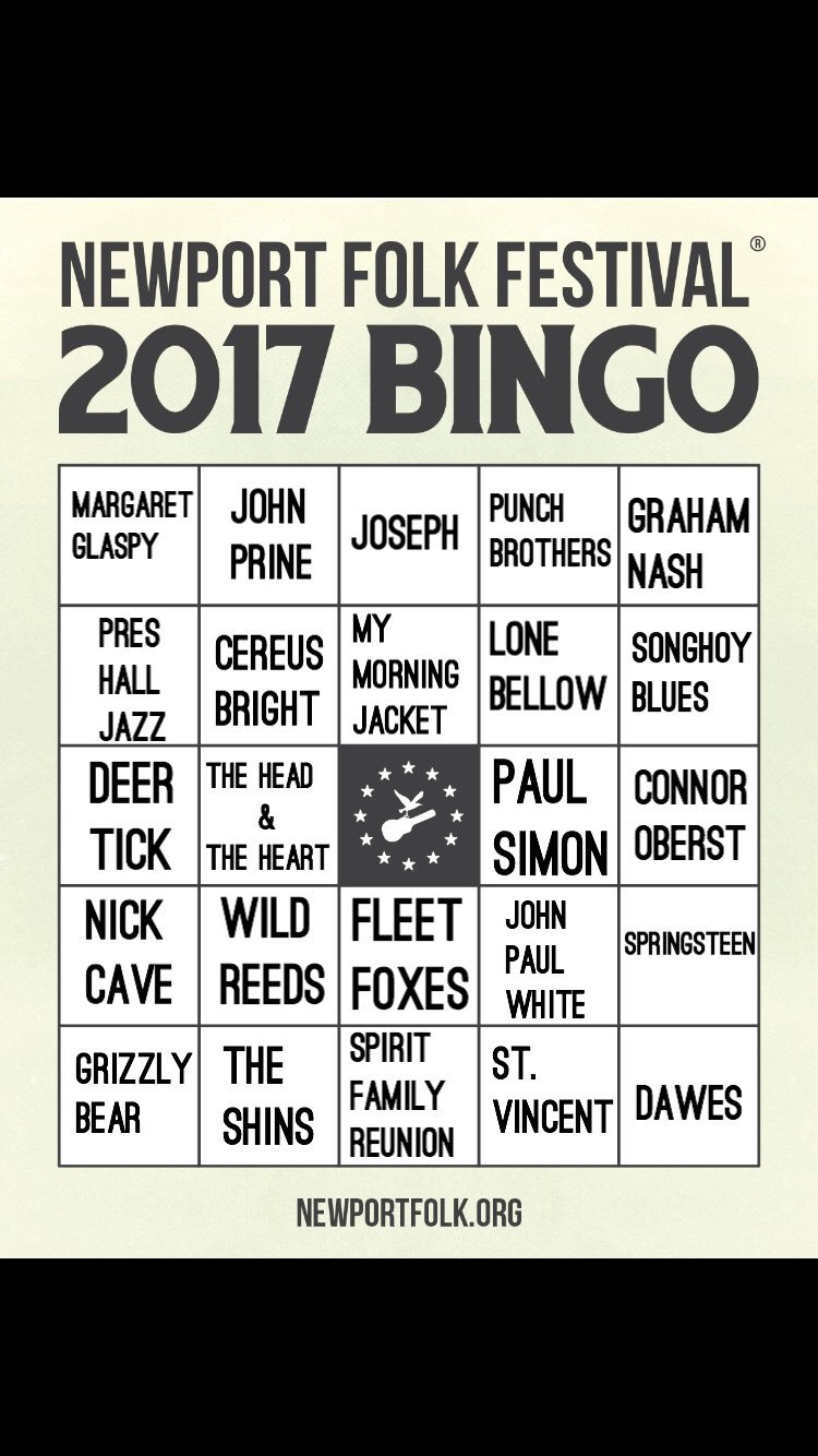 """@Newportfolkfest so with Spirit Family reunion showing up, plus three members of MMJ, do I get an """"ooh so close"""" on my bingo? Middle down. https://t.co/8wtkpNIBVJ"""