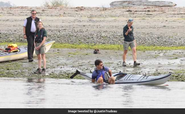 Justin Trudeau Tumbles Out Of Kayak, Jokes About 'Making A Splash'