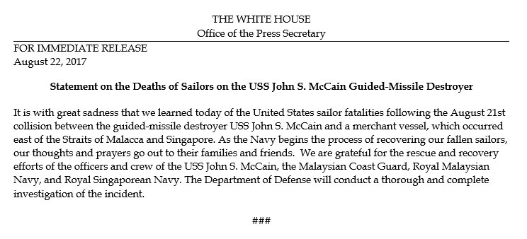 Statement on the Deaths of Sailors on the USS John S. McCain Guided-Missile Destroyer https://t.co/DFOubdCg7k