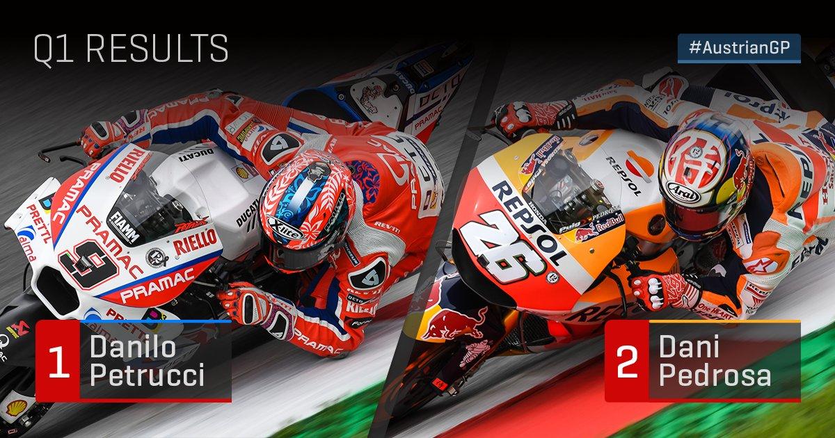 🏁 #MotoGP Q1  Riders through to Q2:  1. @Petrux9  2. @26_DaniPedrosa   #AustrianGP https://t.co/xlkTLzizds