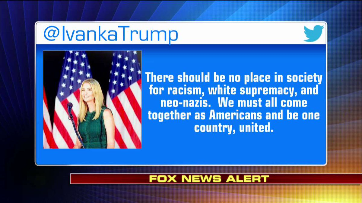 .@IvankaTrump denounces violence at #Charlottesville protests