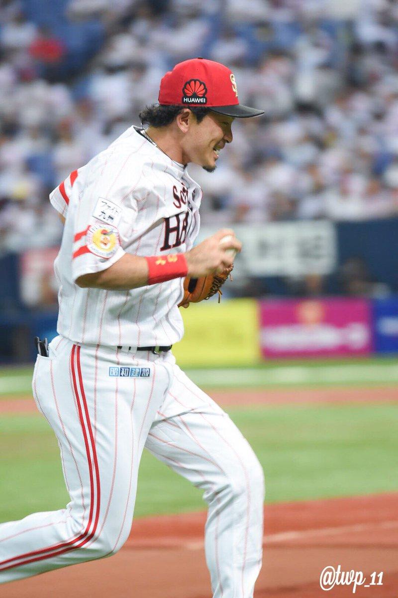 サザエさんのように走ってドレイクのとこ向かうマッチ。 #松田宣浩