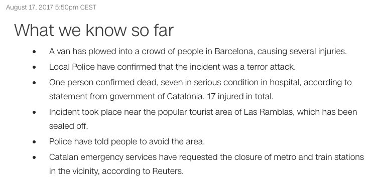 BREAKING: Police confirm #Barcelona incident was a terror attack. Here's what we know https://t.co/kHnZ3Egh5F https://t.co/oW7yJ6sIY5