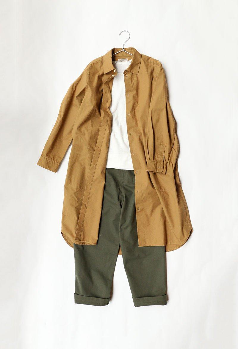 軽くて強度がある「馬布綿(ばふめん)」を使ったワンピースです。1枚でワンピースとしてはもちろん、パンツと合わせてシャツコ