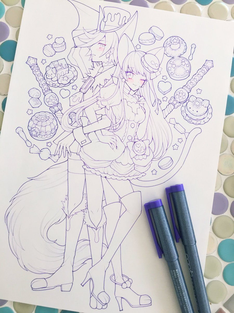 下描きしたたまま放置してたキュアショコラとキュアマカロンペン入れしました。プリアラは魔法アイテムがみんなかわいい! #p