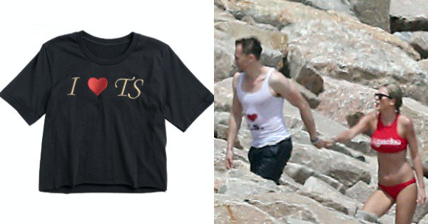 "Taylor Swift is now selling that iconic ""I ♥ T.S. shirt on her site:"