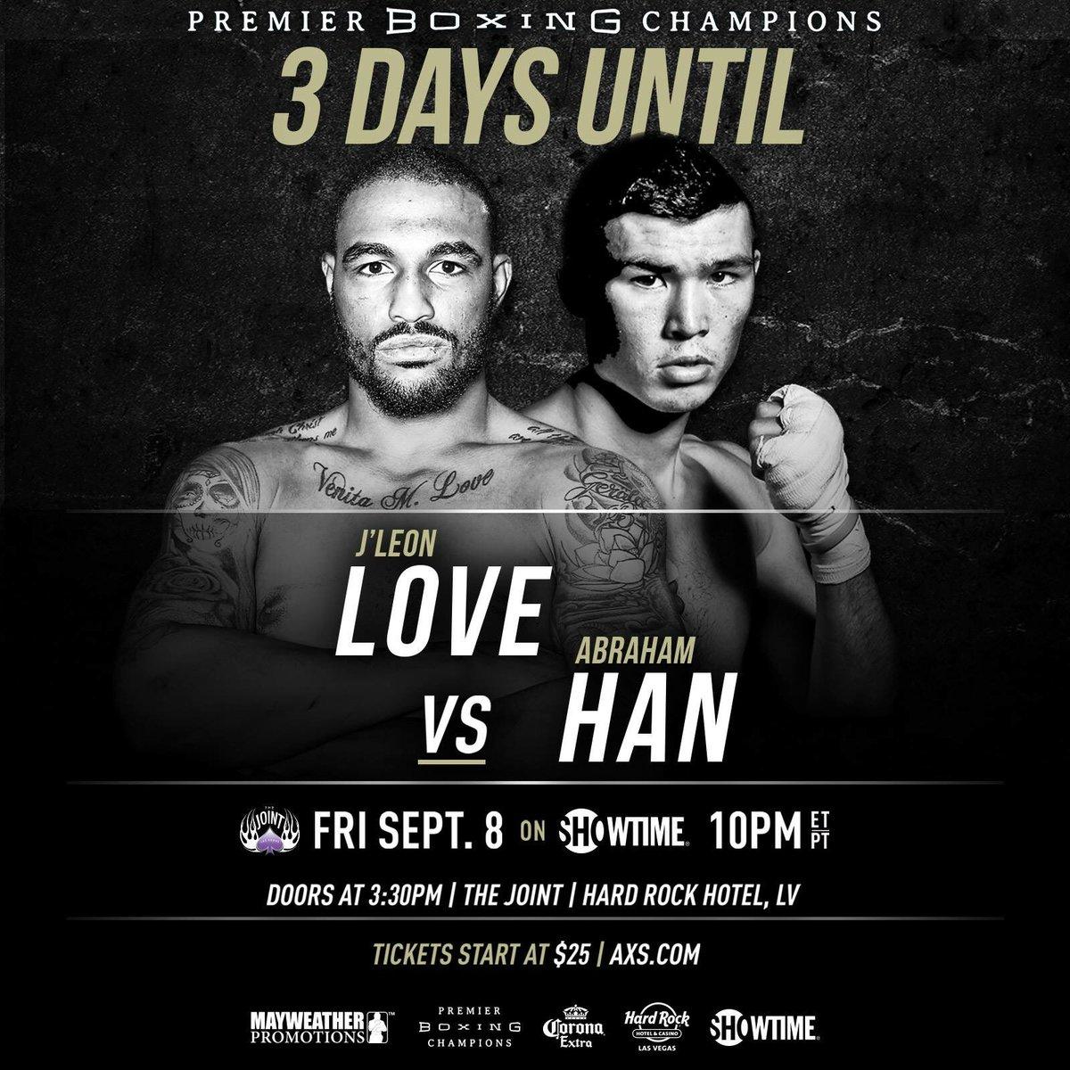 test Twitter Media - 3 Days until @JLeonLove 23-1 (13 KOs) takes on Abraham Han 26-3 (16 KOs)! Watch live on @ShowtimeBoxing 10pm ET/PT https://t.co/dU2VCWjPy2. https://t.co/FdMH0P6Mq0