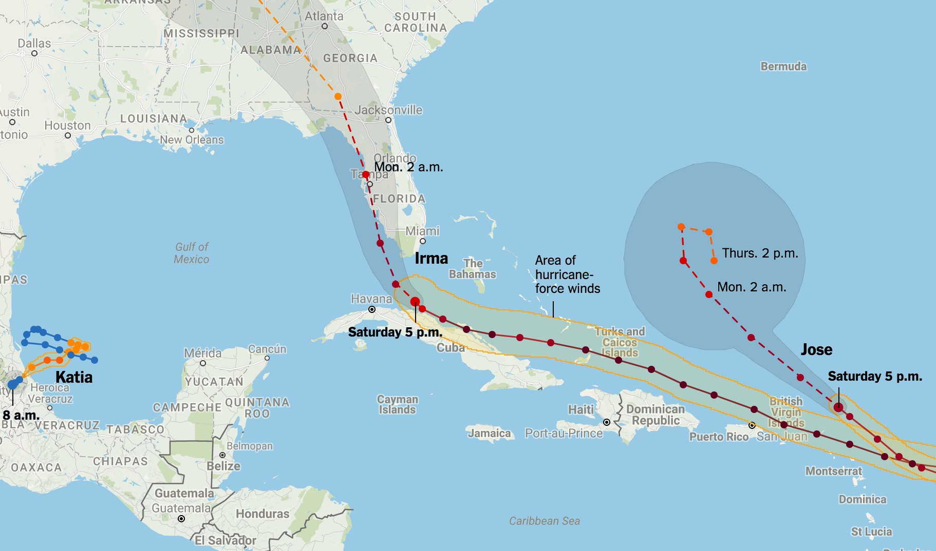 Maps: Tracking Hurricanes Irma, Jose and Katia https://t.co/Sb1h6j4Lh9 https://t.co/DqjwwwMBlR