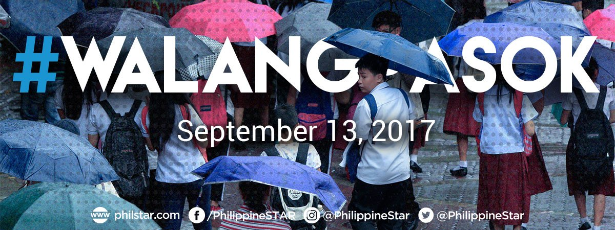 RT @PhilippineStar: #WalangPasok: Class suspensions for September 13, 2017, Wednesday, due to #MaringPH. https://t.co/9EpeI00cy9