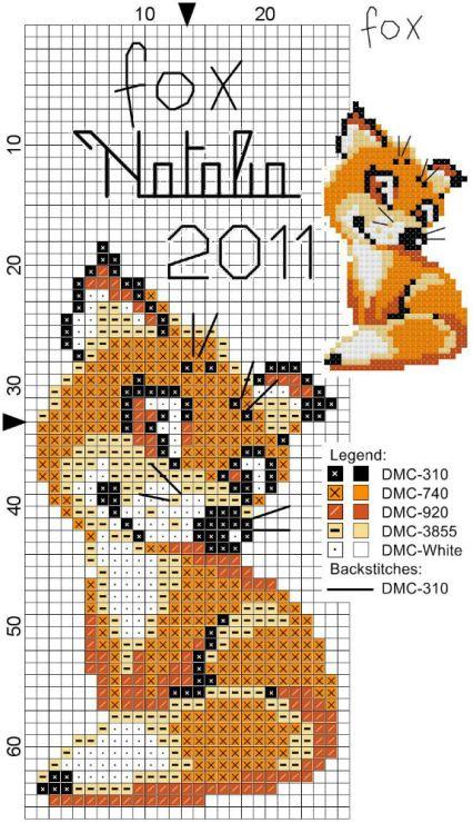 Схемы для вышивки крестом лисички 291