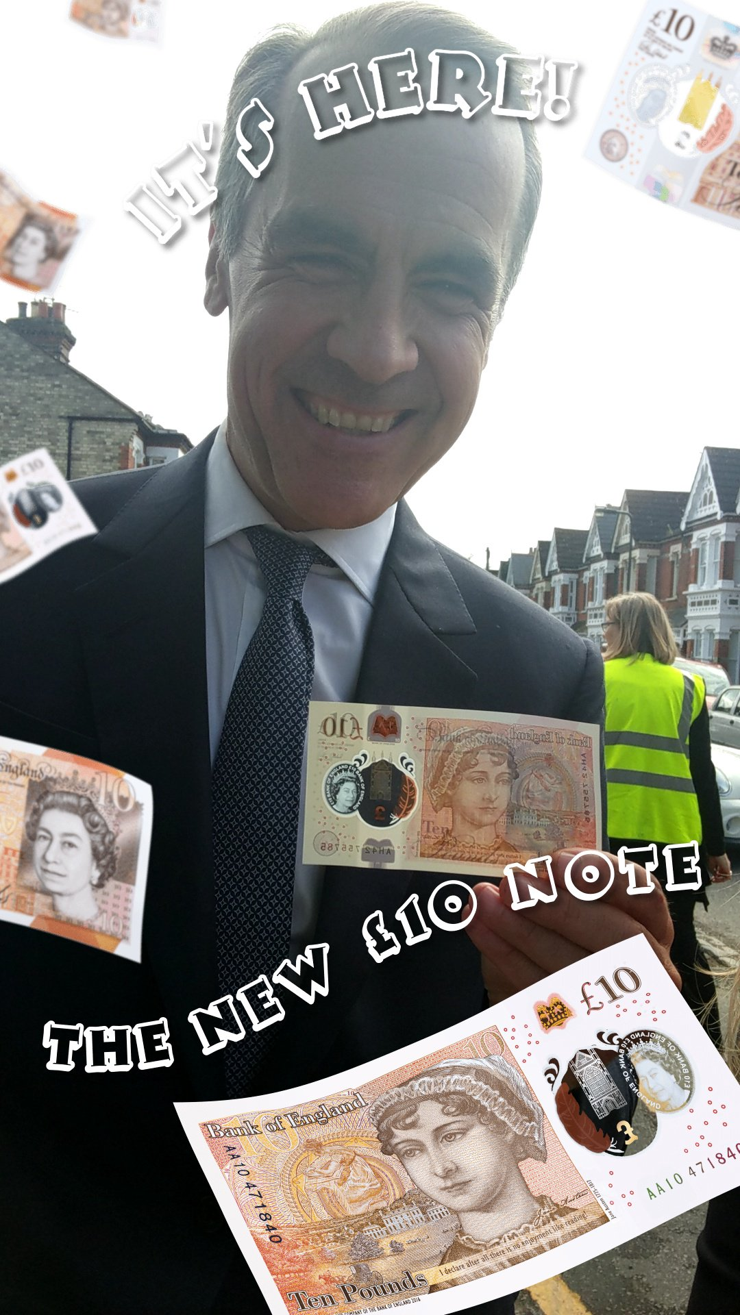 Here's Bank of England Governor Mark Carney with the #NewTenPoundNote Snapchat filter. The new £10: out today. https://t.co/34WM9BaMkJ