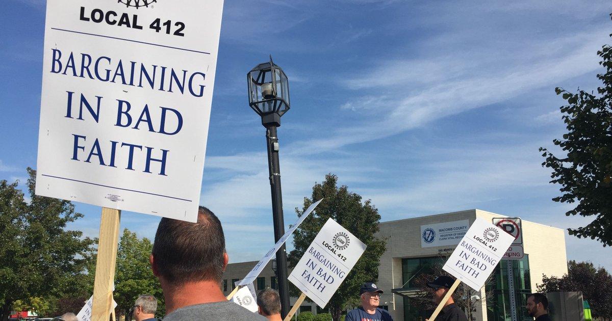 Unions picket hostile work environment of controversial Macomb County Clerk Karen Spranger