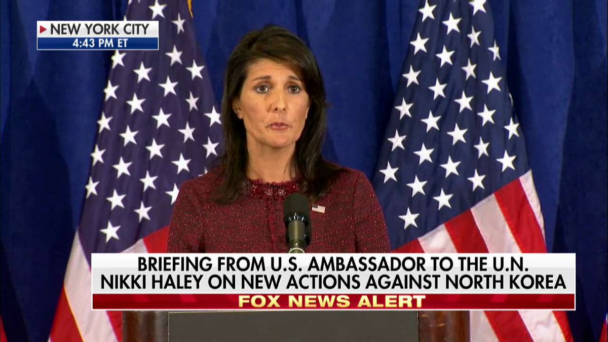 ".@nikkihaley on North Korea: ""We're not gonna run scared."""