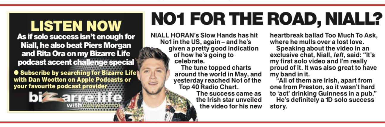 Well done @NiallOfficial - No1 on the US radio charts with Slow Hands. Still a tuuuuuune! https://t.co/S2UTIbLZir