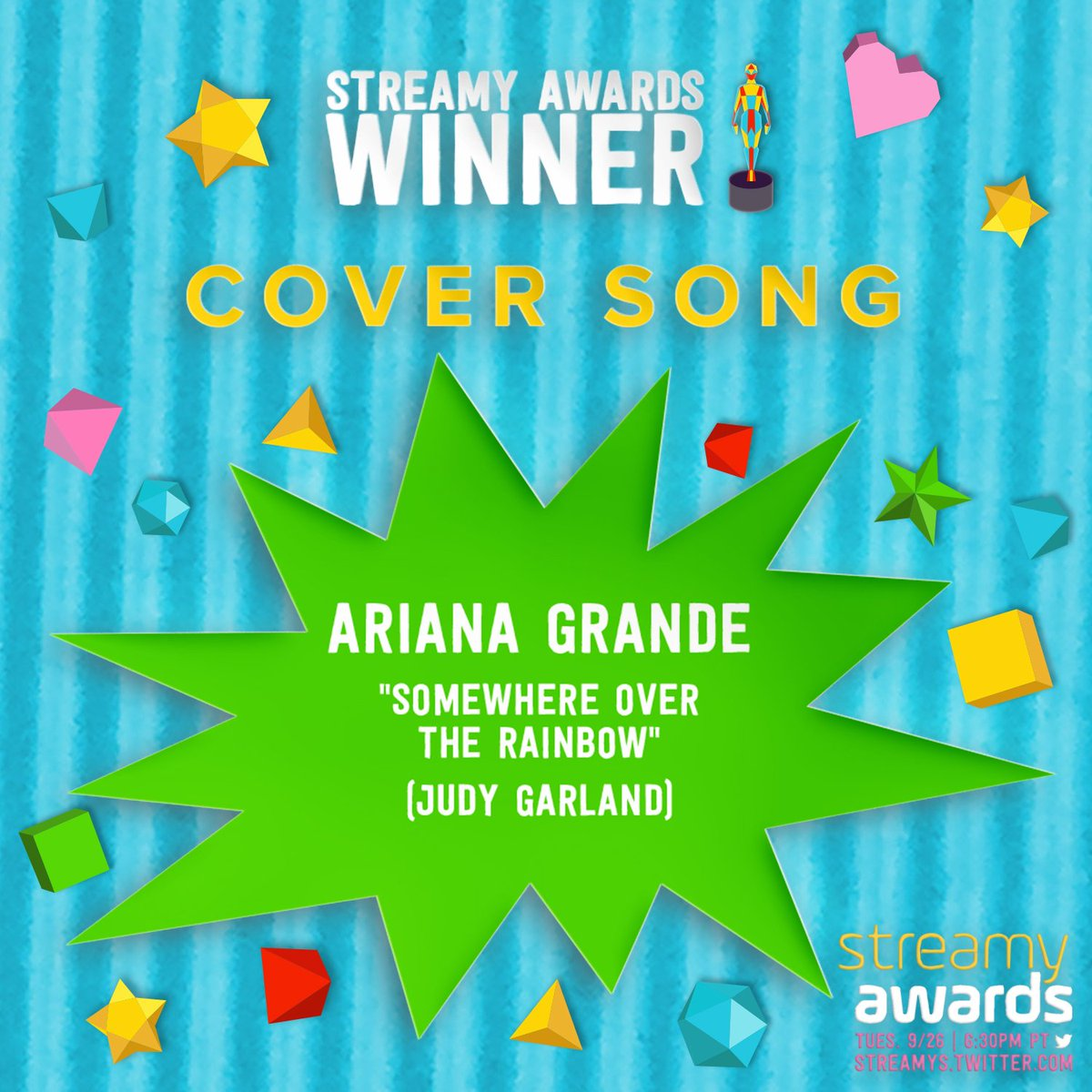 Congratulations to on winning Cover Song for 'Somewhere...