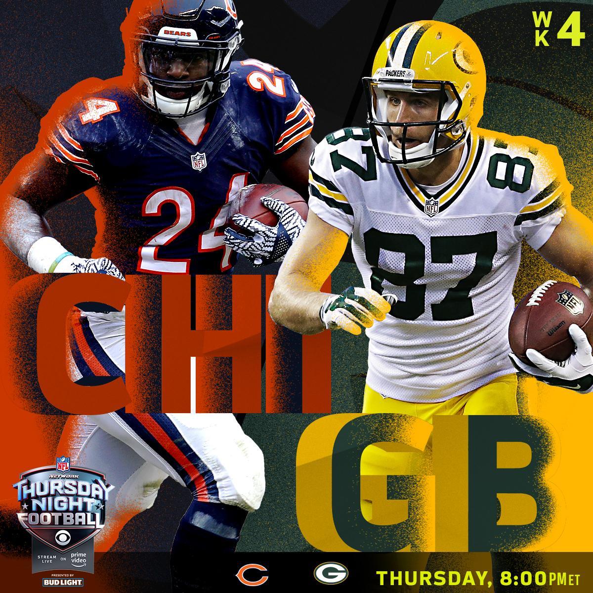 .@ChicagoBears! @packers!  Thursday, 8pm ET on @NFLonCBS + @nflnetwork + @AmazonVideo! #TNF #CHIvsGB https://t.co/jsdpXgSKpb