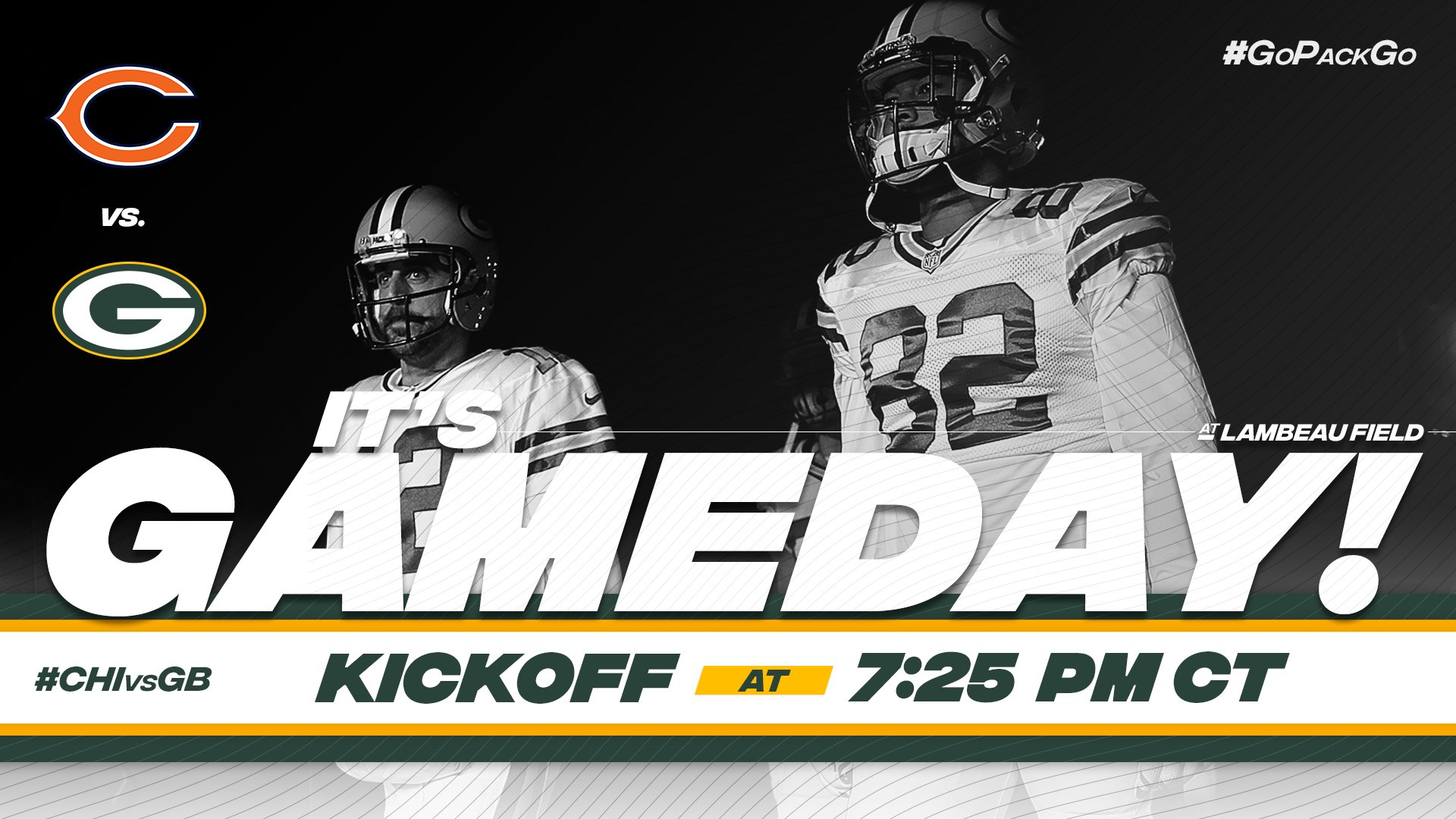 GAMEDAY! ��   The NFL's oldest rivals clash at Lambeau Field.  #CHIvsGB #GoPackGo https://t.co/kL2Zw2UnZK