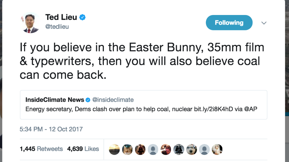 Dem lawmaker: If you believe in the Easter Bunny, you'll 'also believe coal can come back' https://t.co/nDZZdN4kkf https://t.co/YhrkJWpG68