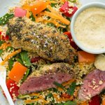 Nadia Lim's polenta-crusted lamb leg steak with vege couscous